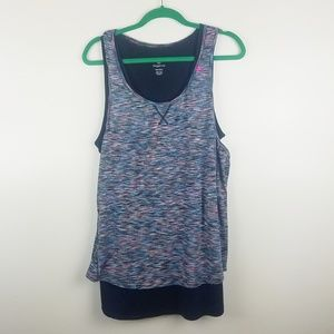 Tangerine Active Tank Top Two Layer Navy Blue